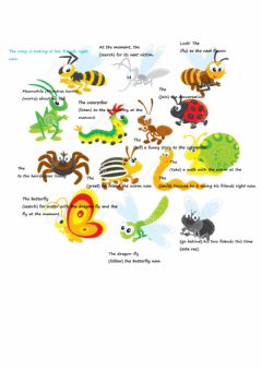 Ficha interactiva Present continuous - present progressive + vocabulary: bugs
