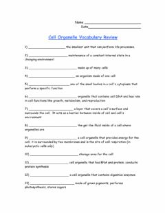 Interactive worksheet Cell Organelle Vocabulary