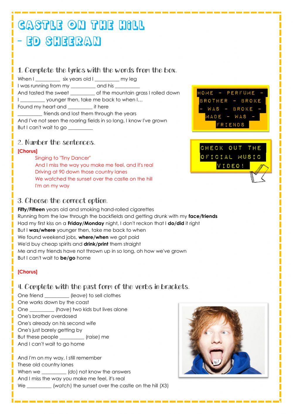 Castle On The Hill Ed Sheeran Interactive Worksheet