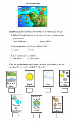 Interactive worksheet The Creation Story
