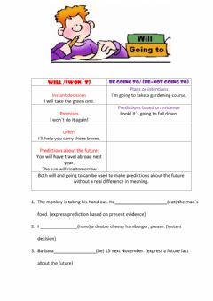 Interactive worksheet Will vs Going to