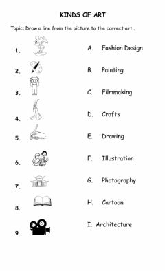 Interactive worksheet Kinds of Art