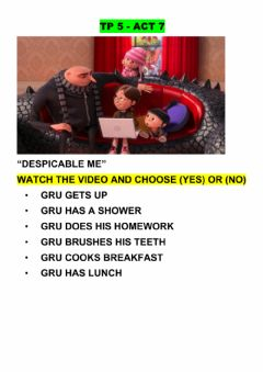Interactive worksheet Gru's routine