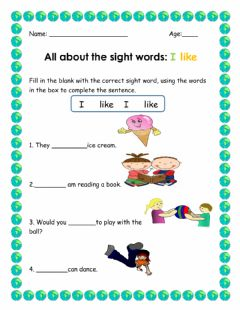 Interactive worksheet Sight Words I and like