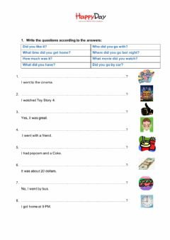 Interactive worksheet Past -Simple Questions
