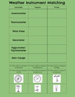 Interactive worksheet Weather Instrument Matching