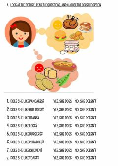 Ficha interactiva FOOD - LIKES AND DISLIKES by Miss Anabel