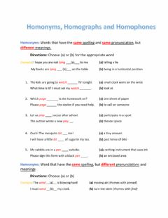 Interactive worksheet Homonyms, Homophones and Homographs