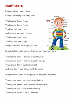 Interactive worksheet Body parts - song