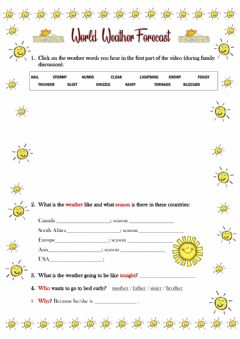 Interactive worksheet The World Weather Forecast