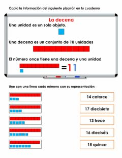 Interactive worksheet Z553 La decena 1°