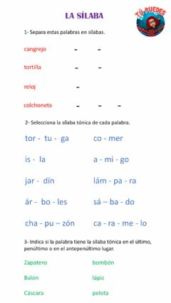 Interactive worksheet La sílaba