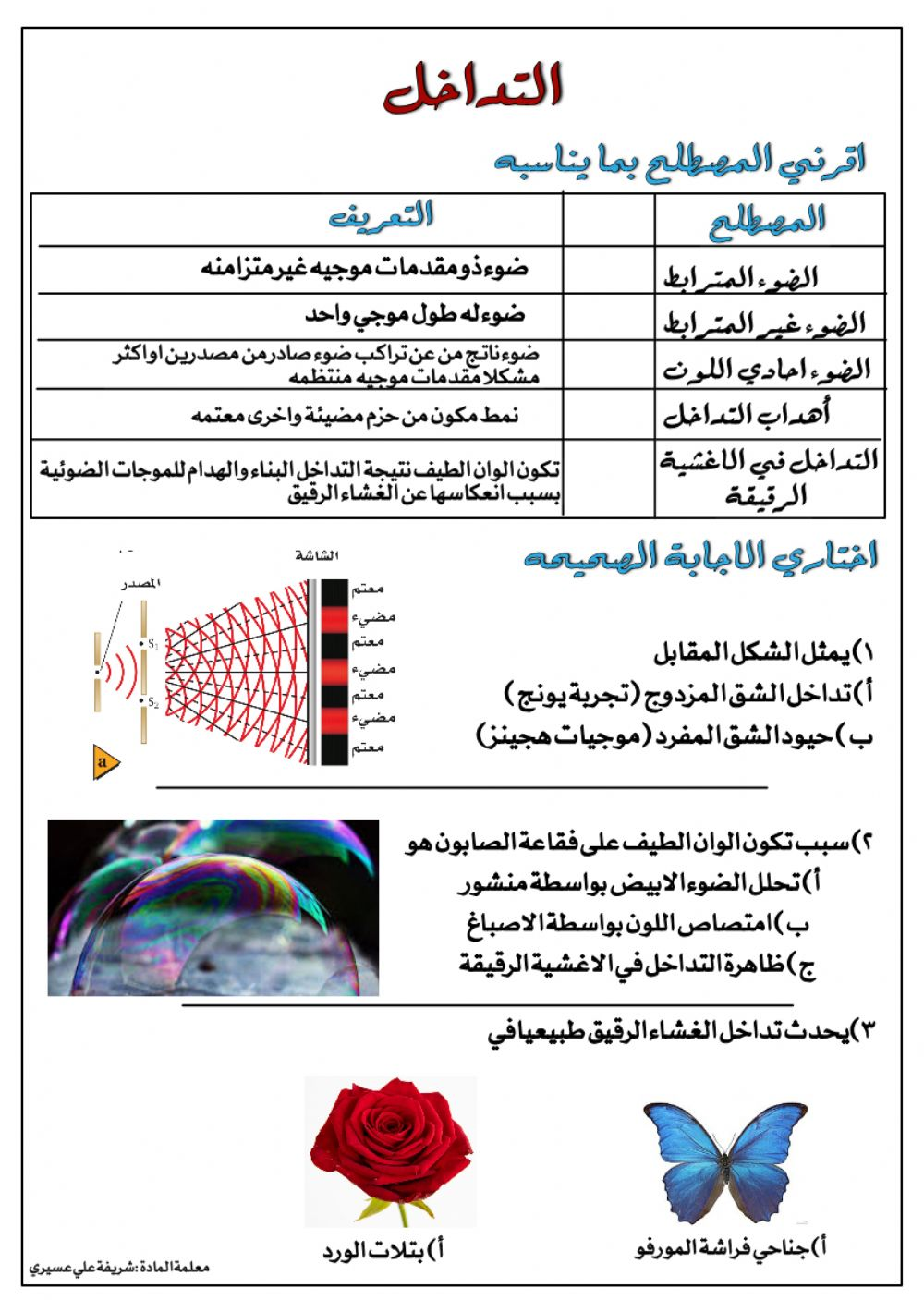 التداخل Interactive Worksheet