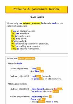 Interactive worksheet Pronouns and possessives - review