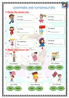 Interactive worksheet Grade 4-Unit 2-Countries and nationalities