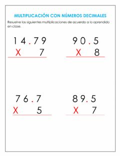 Interactive worksheet Multiplicación con decimales