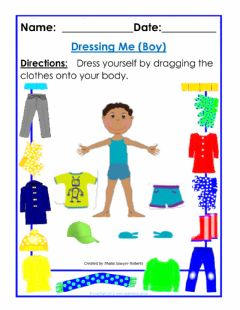 Interactive worksheet Dressing Me (Boy)