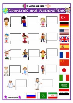 Interactive worksheet Countries (Listen and drag)