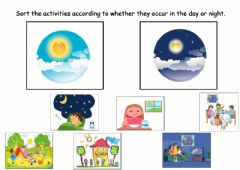 Interactive worksheet Day and Night Activities Sorting