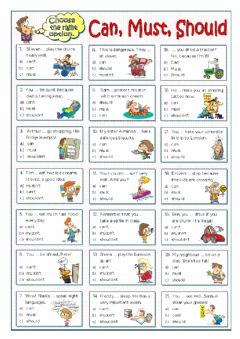 Interactive worksheet Modal Verbs Can, Must, Should