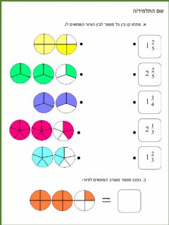 Interactive worksheet שברים בסיס