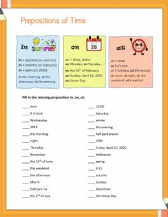 Interactive worksheet Prepositions in, on, at