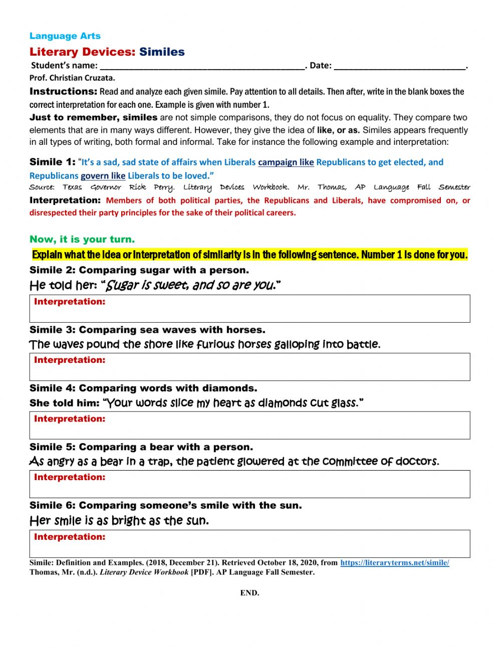 Literary Devices: SIMILE exercise worksheet Intended For Sound Devices In Poetry Worksheet