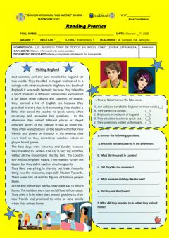 Interactive worksheet Visiting England Reading