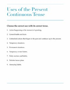Interactive worksheet Uses of the Present Continuous