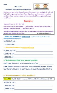 Ficha interactiva Reading and Writing Numbers Through Billions