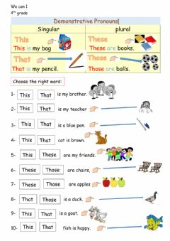 Interactive worksheet This - That - These - Those