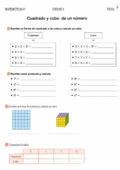 Interactive worksheet Potencias y raices cuadradas