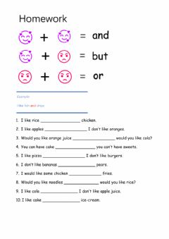 Interactive worksheet And-but-or in the restaurant