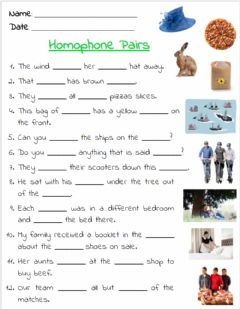 Interactive worksheet Homophone Exercise 1