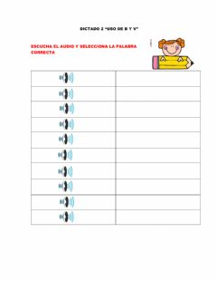 Interactive worksheet Dictado 2 uso  de la b y v