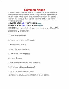 Interactive worksheet Common or Proper Nouns