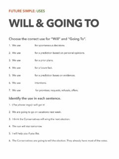Interactive worksheet Uses of the Future Simple (Will - Be Going To)