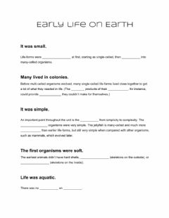 Interactive worksheet Early Life on Earth Time Period -1 Mod