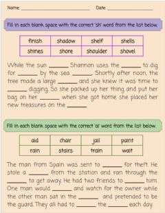 Ficha interactiva Spelling Review - 'sh' & 'ai'