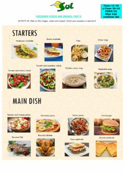Interactive worksheet Ordering foods and drinks part 2