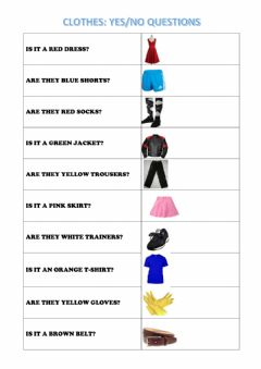 Interactive worksheet Clothes: Yes-No questions