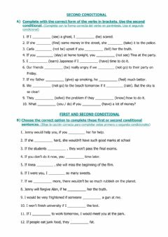 Interactive worksheet First and Second Conditional sentences