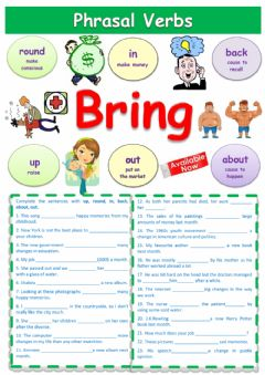 Interactive worksheet Phrasal verb Bring