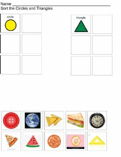 Interactive worksheet Circle and Triangle Sort