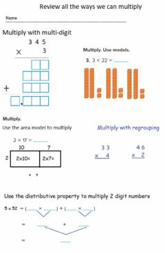 Interactive worksheet Review the different ways we can multiply numbers