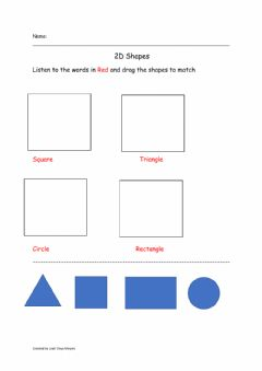 Interactive worksheet Find the shapes! Circle, Rectangle, Square, Triangle, evaluation