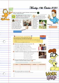 Ficha interactiva Adverbs of Frequency and Habitual Actions