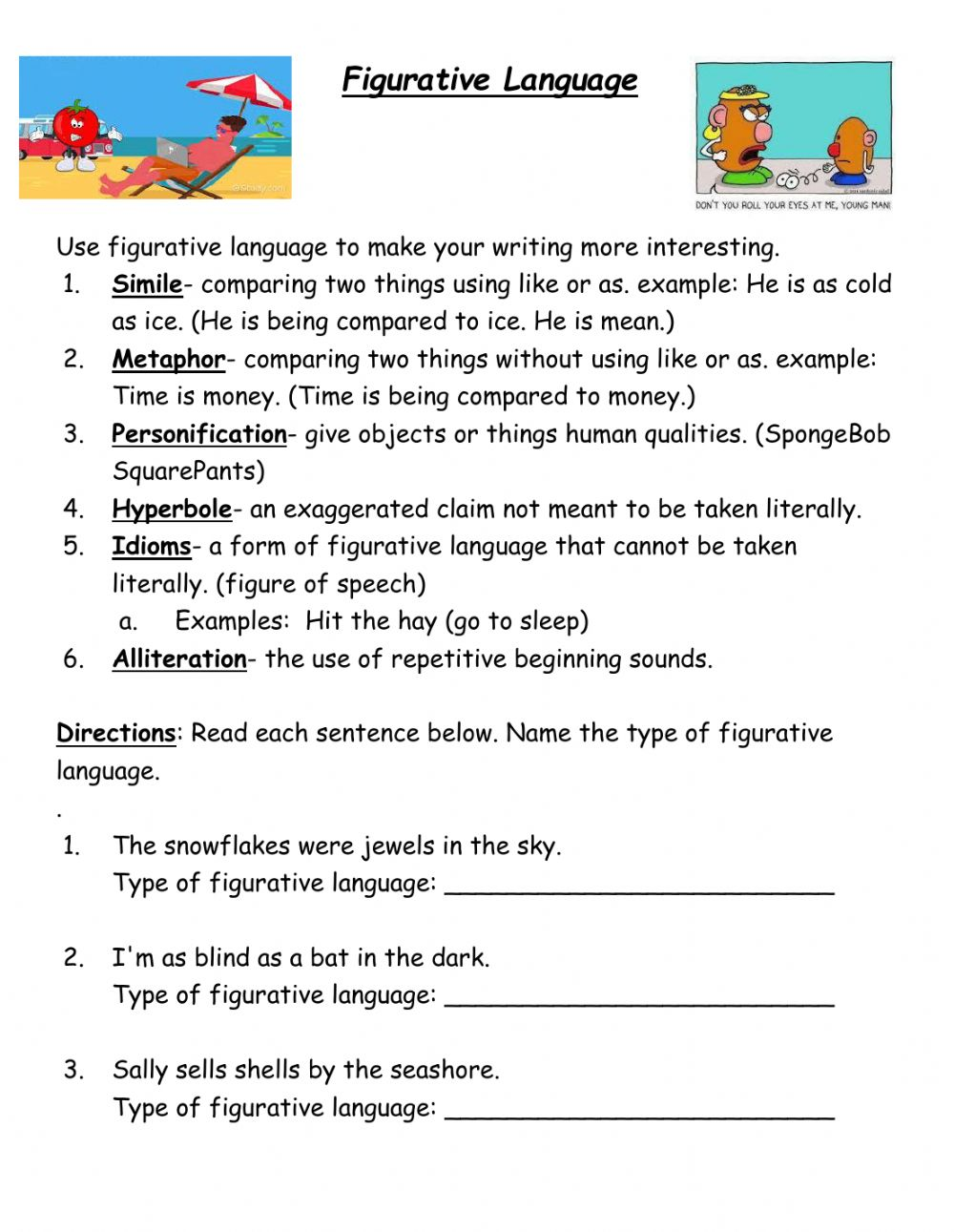 Figurative language interactive activity