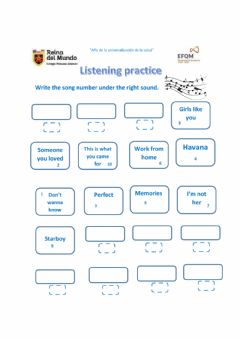 Interactive worksheet Listening to songs