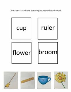 Interactive worksheet Matching Picture to Word